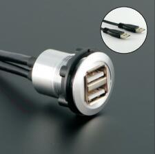 22mm mounting diameter metal 2x USB2.0 FEMALE A - MALE A 2x60cm wiring