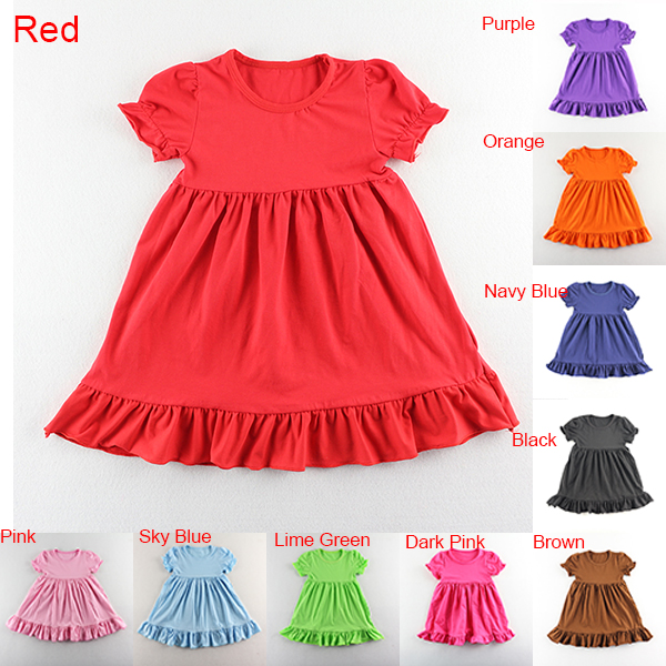 Hot Sale Summer Solid Color Cotton Short Sleeve Ruffle ...