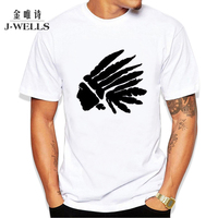 Indian Head Picture Printed T-shirts Mens Summer Slim O-neck Short Sleeve T Shirt Men Brand Clothing Top Tee Cotton Casual Tees