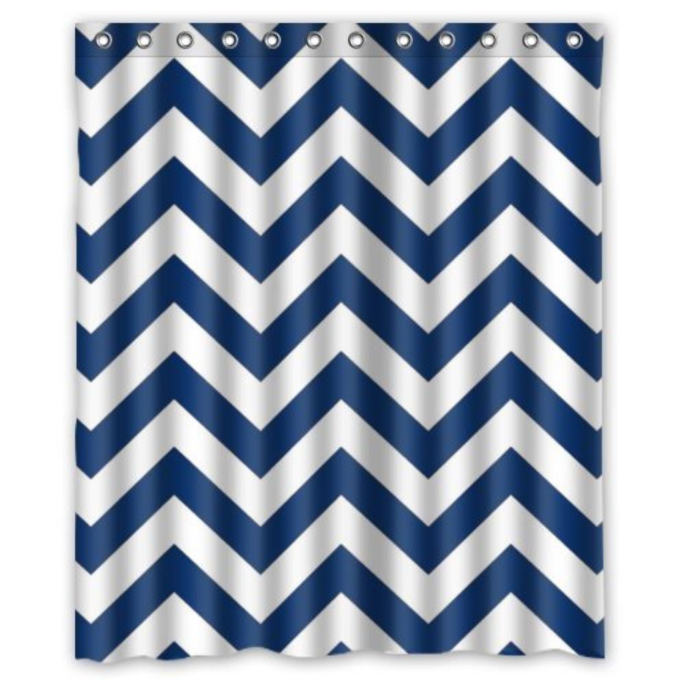 Navy Blue and White ChevronLiner Custom Bathroom Curtain Shower Waterproof  Bathroom Shower Curtain Polyester Fabric 60Compare Prices on Navy Blue Fabric Shower Curtain  Online Shopping  . Navy Blue And White Shower Curtain. Home Design Ideas