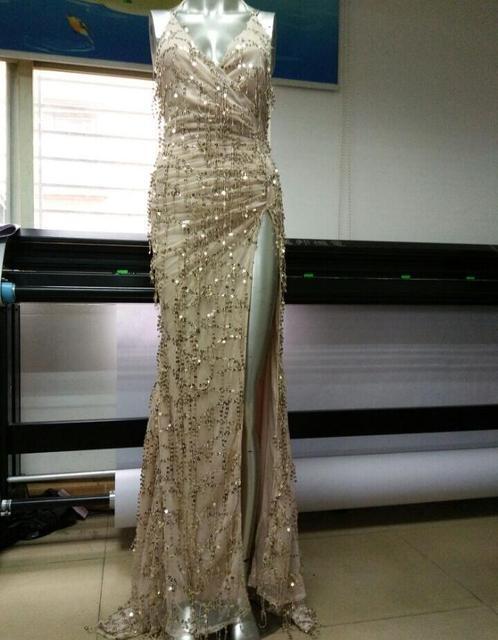 vestidos de festa gold shiny sequin long evening maxi  4