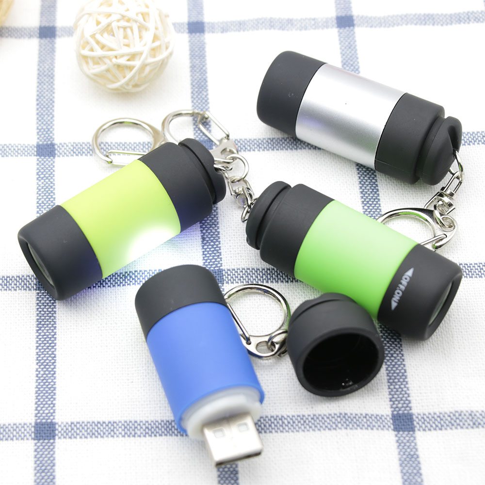 NEW Waterproof USB Light Rechargeable LED Flashlight Lamp Pocket Keychain Mini Torch ...