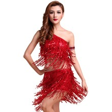 Lady Dance Dress Sequins Dancing Dress Women Costume Tango Latin Salsa Party Top Dresses