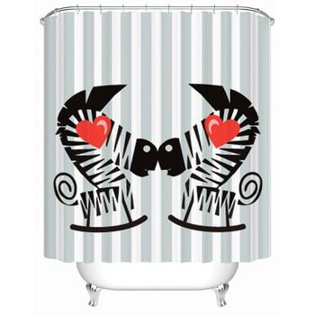 Hot black and white zebra bathroom shower curtain waterproof mouldproof bath curtain 180x180cm,180x200cm zwbra shower curtain