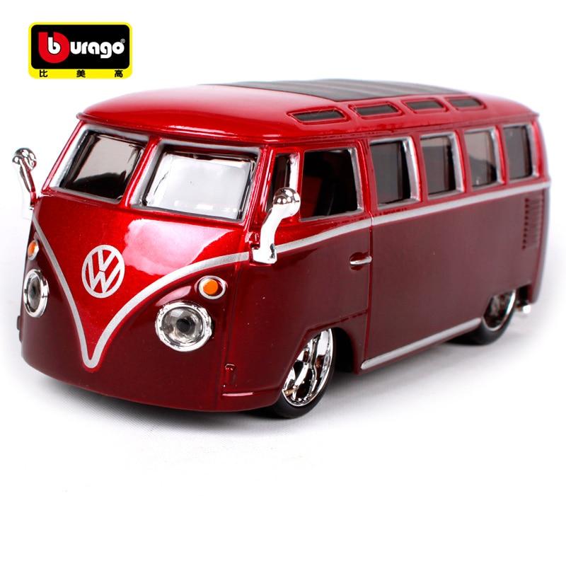 Maisto 1:32 Volkswagen van samba gold silver red wine bus diecasts open doors motorcar d ...