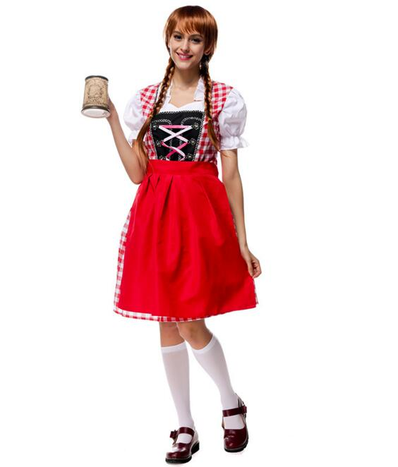 Halloween font b cosplay b font Beer Festival vestido red dress Female Maid Beer girl lolita