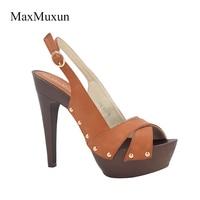 MaxMuxun Shoes Women Sandals 2017 Summer Sexy Style Platform Sandals Open Toe Stiletto High Thick Heels