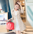 New Elegant Warm Long Slim Trench Women Full Sleeve Turn down Neck Double Breasted Lace Coats Autumn Winter Natural Color Trench