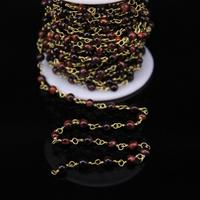 5Meters,Round Red Tiger eye Rosary Chain Charms,4mm Natural stone Bronze Brass Chains Fashion Bracelet Necklace Jewelry Supplie