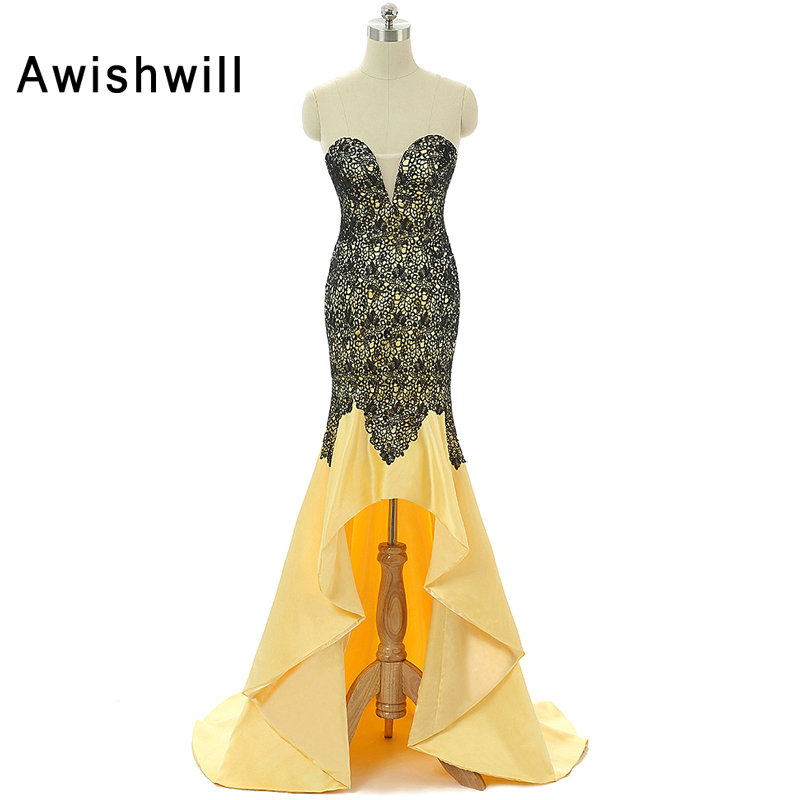 Sexy Robe de Soiree High Low Mermaid Prom Dresses 2018 Yellow Lace Satin Short Front Long Back Party Gowns Vestido de Formatura