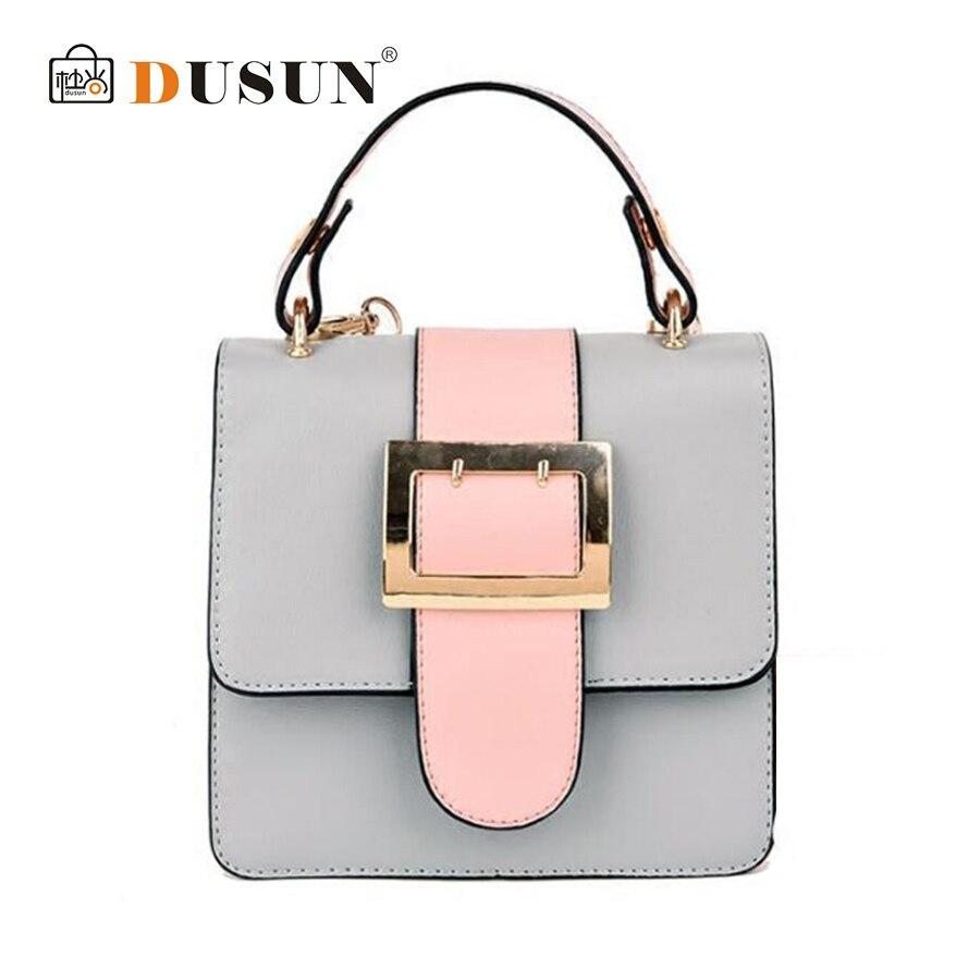DUSUN 2018 Panelled Chain Messenger Bag Women Simple Small Flap Ladies Brand Handbag Fashion Designer Shoulder Bags Hit Color