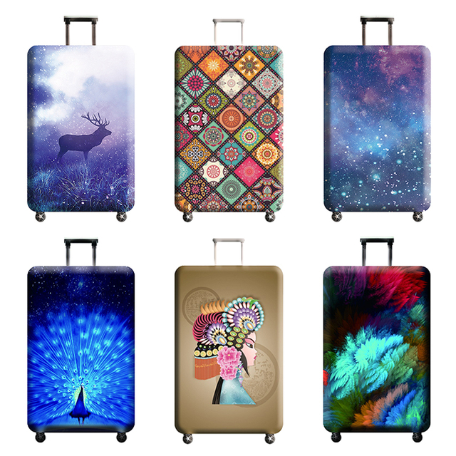Diverse styles Travel accessories Luggage cover Suitcase protection baggage dust cover Stretch fabrics Trunk set cases for