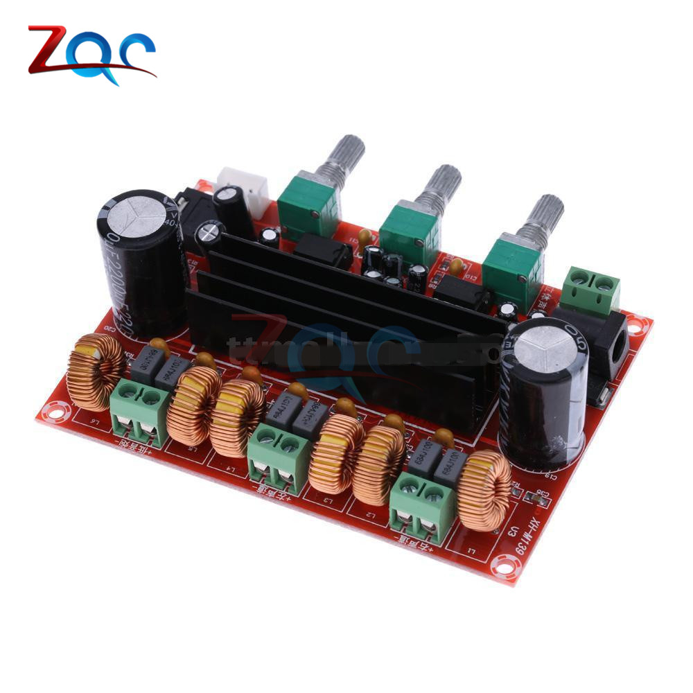 TPA3116 2.1 Digital Audio Amplifier Board TPA3116D2 Subwoofer Speaker Amplifiers DC12V-24V 2*50W+100W lusya tpa3116 2 1 channel high power bluetooth digital audio amplifier board tf card usb subwoofer speaker amplifiers 2 50w 100w