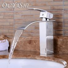 цены OUYASHI bathroom basin faucet deck mounted single handle single hole waterfall undercounter modern water tap