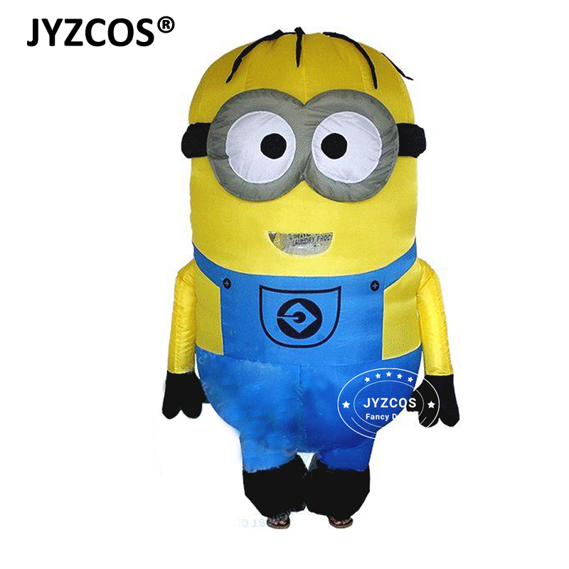 JYZCOS Oppustelige Minion Kostumer til voksne Purim Halloween Cosplay Party Foragtelige mig Mascot Air Blow Up Outfits Fancy Dress