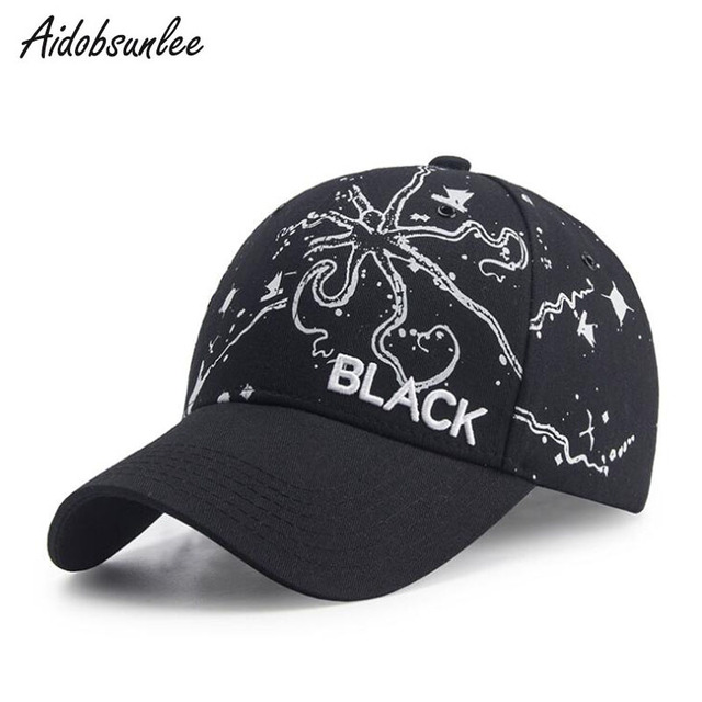 9f2b189e085 Men s Women s Baseball Cap BLACK Hip Hop Embroidered Cotton Hat Octopus  Baseball Cap Anime Printed Cotton Adjustable Lover Caps