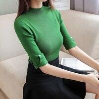 Mode femmes printemps été col roulé couleur unie moitié manches de base tricoté chemise femelle mince chandail pull Office Lady tops
