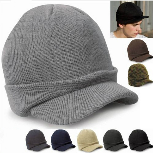 Fashion Army Style Cap Male Warm Winter Hat With Visor Knitted Hats Acrylic  Casquette For Women Caps Men 2016 HT51046+35 dbe01109d9e