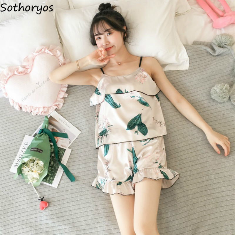 Pajama Sets Women Summer Thin Sexy Lovely Womens Sling Round Neck Sleeveless Sleepwear Female Daily Comfortable Soft Trendy 2019(China)