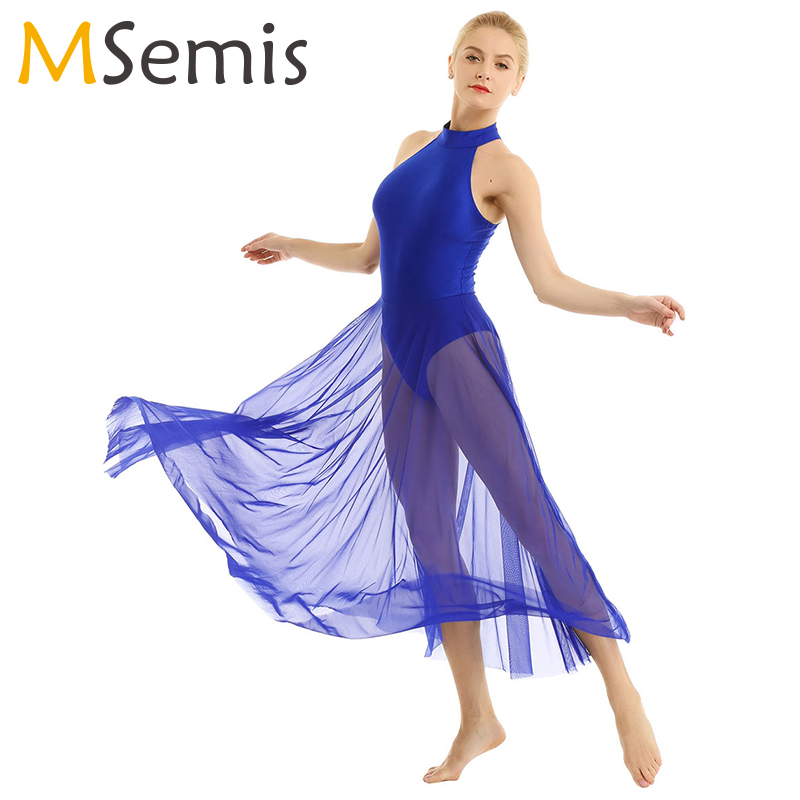 Women Adult Ballet Dance Dress Contemporary Modern Leotard Ballet Bodysuit With Mesh Skirt Mock Neck Ballet Leotards For Women