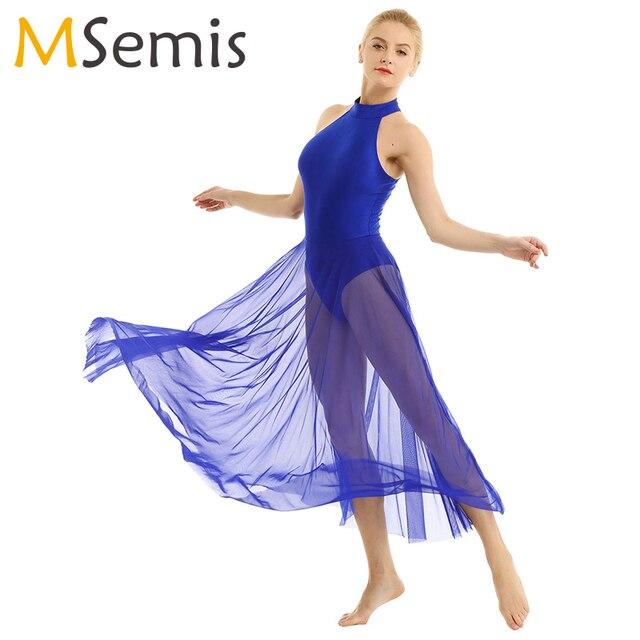 Women Adult Ballet Dance Dress Contemporary Modern Leotard Ballet Bodysuit with Mesh Skirt Mock Neck Ballet Leotards for Women