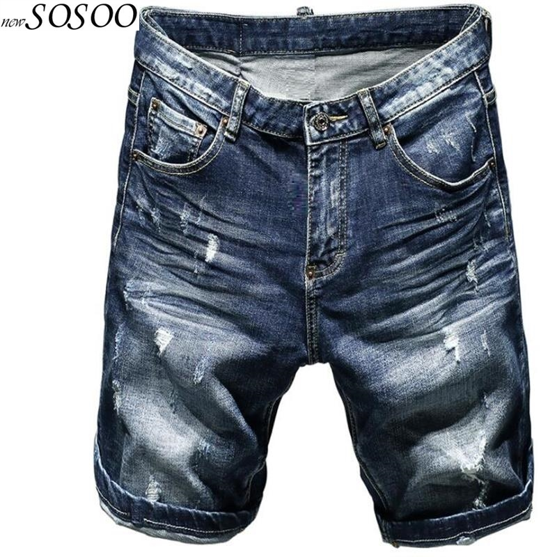 New Summer Men's Ripped Short Jeans Paint European And American Style Fashion Classic Men Jeans Pants #TC058