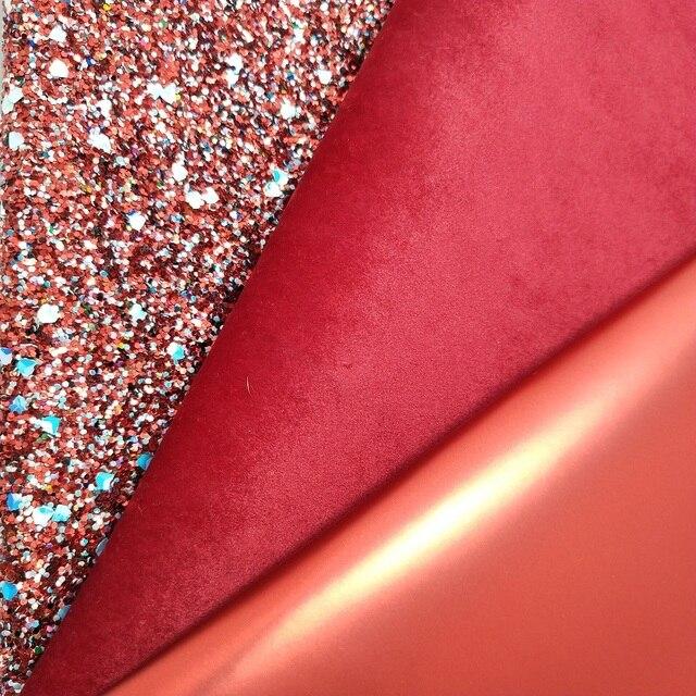 1 pc 21X29 cm Vermelho Chunky Glitter Couro, Couro Liso, camurça De Couro Para Fabricação de Arcos e Outros Acessórios 3S29C