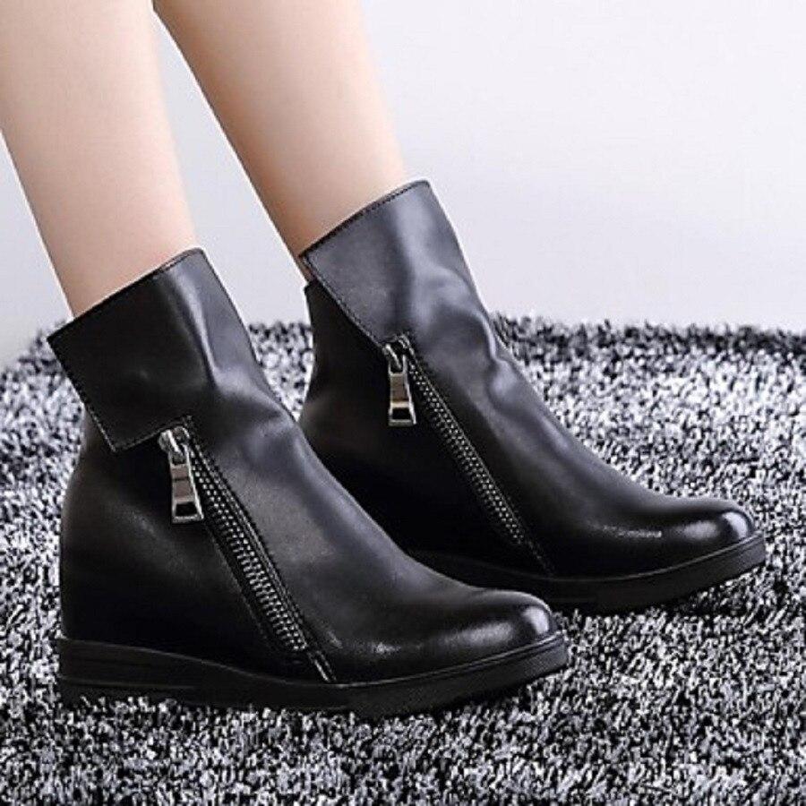 Bout Femme Talons La Plus Femmes Chaussures Mode Nancyjayjii Cheville Gland Noir Fermeture Taille Chaussures Rond 14 Black Éclair Plat D'hiver 5 Bottes pER6qgw