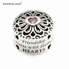 Amor y amistad corazón rosa perlas mujeres diy esterlina de plata-joyería apta pandora encantos pulseras de plata 925 original bijouterie