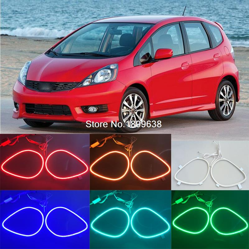 где купить for honda fit jazz 2009 2010 2011 2012 2013 RGB LED headlight rings halo angel demon eyes with remote controller дешево