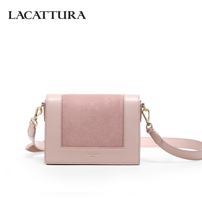 94a20f289b LACATTURA Luxury Women Handbag Flap Shoulder Small Bag Designer Purse  Crossbody for Lady Messenger Bags Pink with Suede
