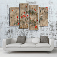 New Arrival DIY Home Wall Art Decor 4 Panel Canvas Art Painting Wholesale Frameless Red Wildflowers