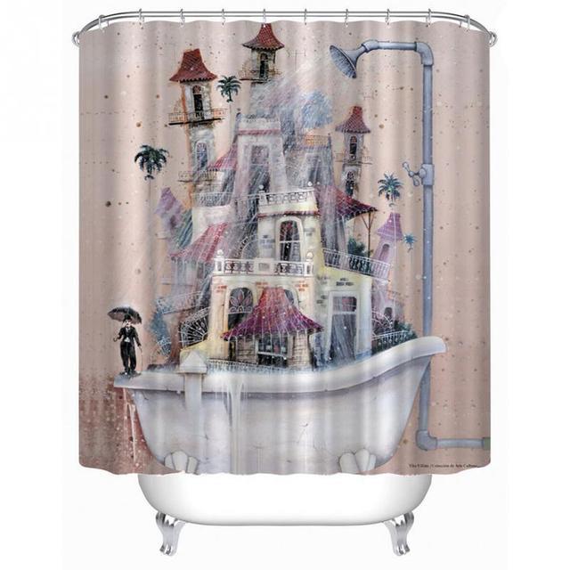 Cartoon home decor tenda della doccia casa vasca disegno bagno in ...