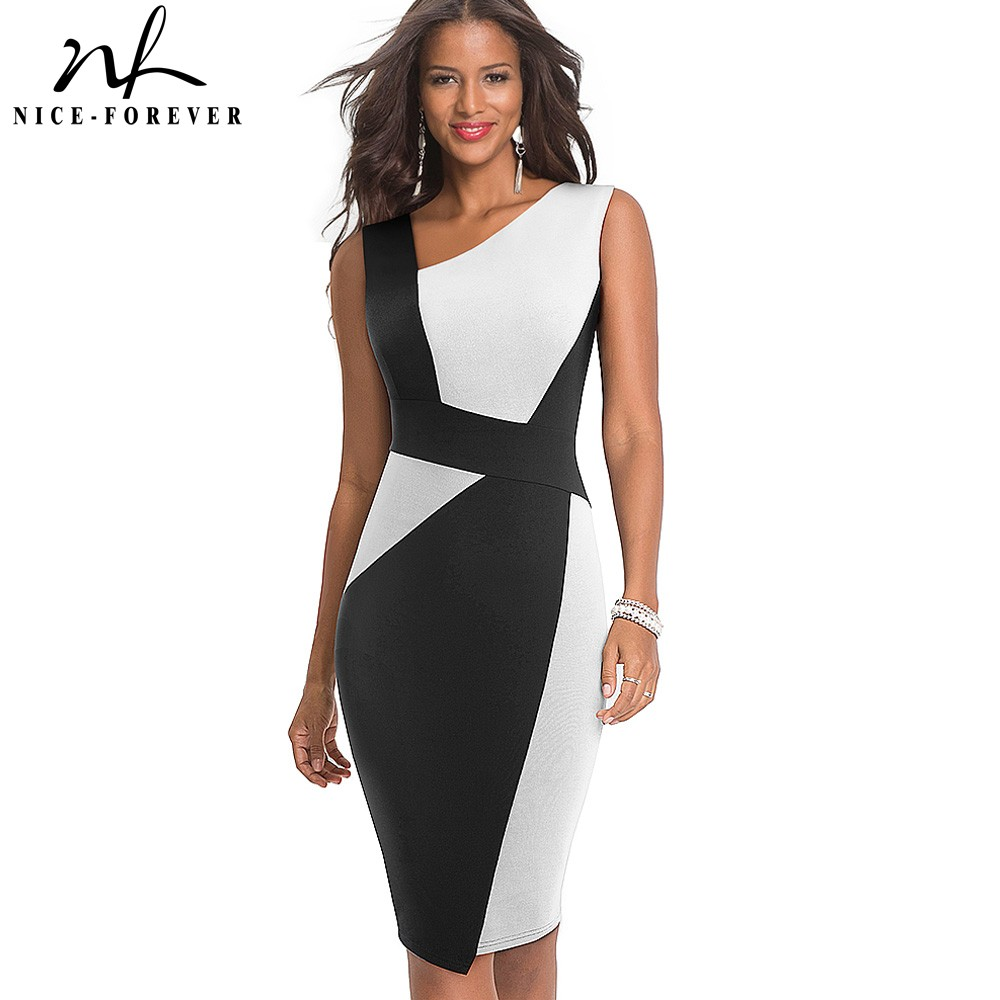 Women Dress Patchwork-Wear Work-Vestidos Business-Party Bodycon Contrast-Color Nice-Forever