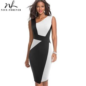 Image 1 - 素敵な永遠のヴィンテージコントラスト色パッチワーク着用して作業する vestidos ビジネスパーティーボディコンオフィスエレガントな女性ドレス B517
