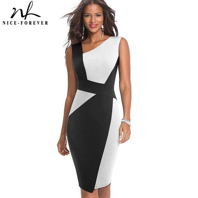 素敵な永遠のヴィンテージコントラスト色パッチワーク着用して作業する vestidos ビジネスパーティーボディコンオフィスエレガントな女性ドレス B517