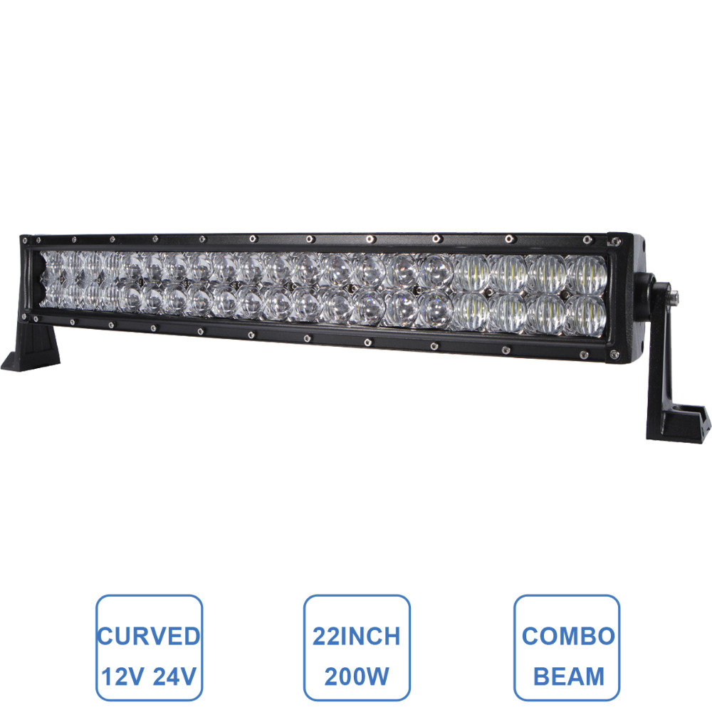 Curved 200W 22'' LED Light Bar Offroad Car Driving Headlight 12V 24V ATV SUV UTE UTV Boat Truck Tractor Wagon Trailer 4X4 Lamp 60w led light bar 8 offroad 12v 24v car truck 4wd suv atv 4x4 auto trailer wagon ute awd boat spot driving fog lamp headlight