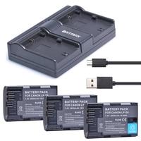 3Pcs 2650mah LP E6 LP E6 LPE6 Camera Battery AKKU USB Dual Charger For Anon 5D