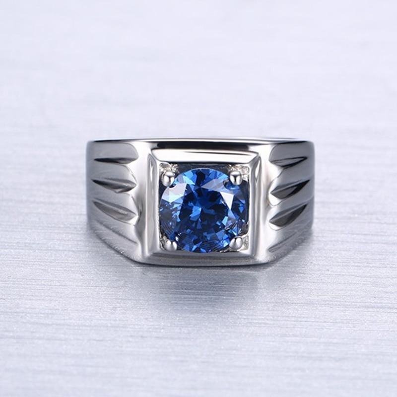 Kualitas perhiasan titanium cincin batu biru aaa + kubik cincin - Perhiasan fashion - Foto 3