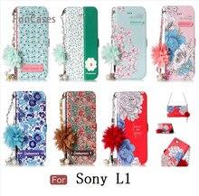 Pretty Blue Rose caso sFor Coque Sony L1 del grano de la PU cadena móvil espalda geométrica caso sFor Sony Xperia L1 celular Kasus
