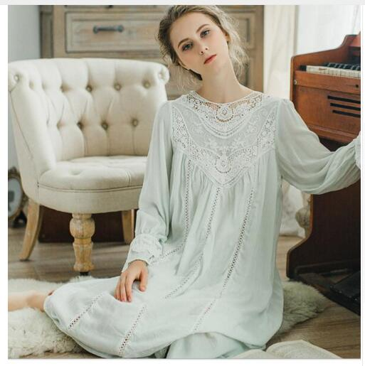 d31e36dacd Women SLeepwear Cotton Nightgown Casual Sleepwear Ladies Royal Vintage  Night wear White Nightdress Comfortable clothes for bed