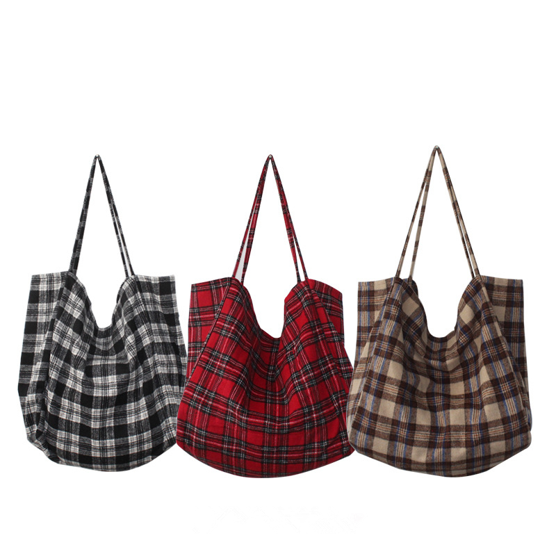 YILE Simple Wool Tartan Plaid Check Eco Shopping Tote Shoulder Bag Back Brown Red CY0834 tartan