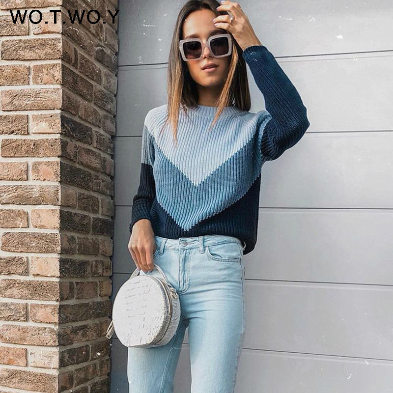 WOTWOY осень зима контрастный цвет женский свитер Повседневный длинный рукав пуловеры женские с круглым вырезом Трикотажные топы женские джемпер Femme мягкие