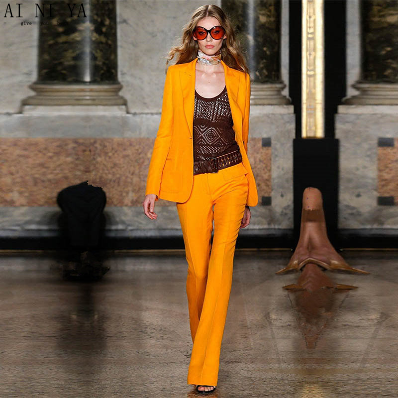 Jacket+Pants Orange Business Pants Suits For Women Slim Fit Office Uniform Style Ladies Pant Suits 2 Pieces Set Blazer Custom