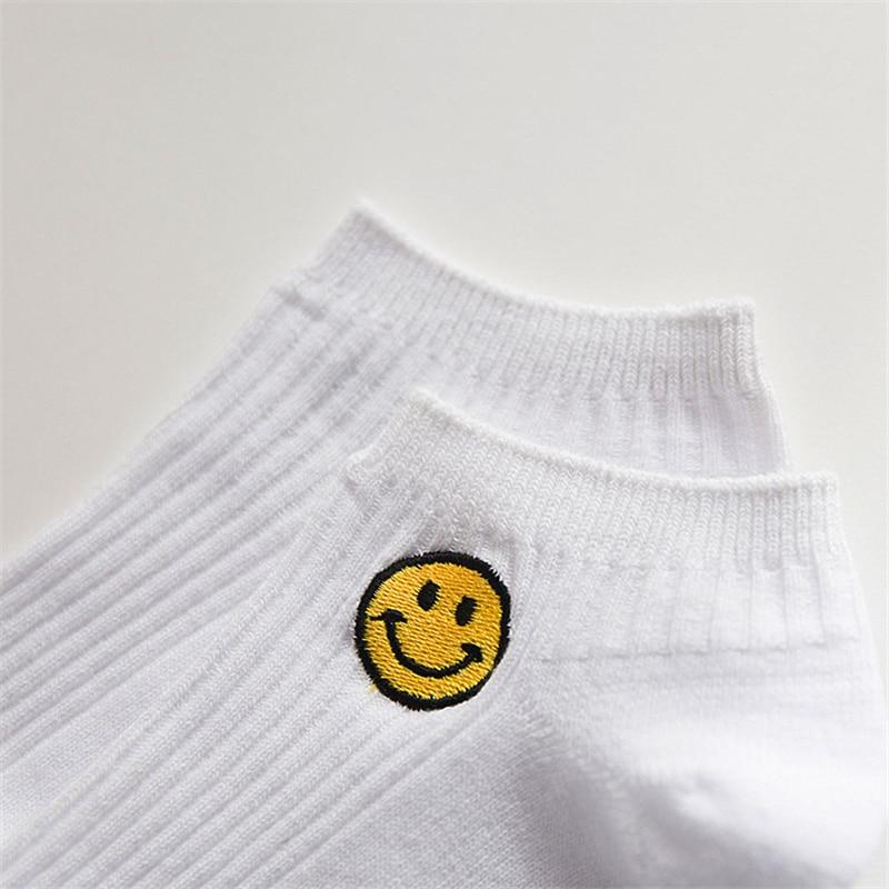 Man White Harajuku Socks Unisex Summer Short Socks Hipster Skateboard Funny Ankle Socks Embroidery Coke Killer Cactus Monster Men's Socks