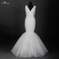 RSW886 Até O Chão vestido de Noiva V Pescoço Plus Size Vestidos de Casamento Do Laço Da Sereia