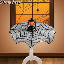 OurWarm 10pcs Black Lace Spiderweb Halloween Tablecloth Mantle Scarf Cover Decor Horror House Festive Party Supplies