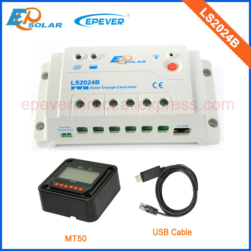 цены EPsolar PWM 20A 20amp Regulator solar panels Battery LS2024B MT50 remote meter and USB cable with great price