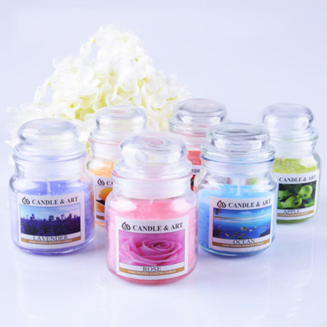 Decorative Glass Canister Aroma Smokeless Candles Home Christmas Candles Decoration Mariage Romantic Candle Home Decor 50Z0043