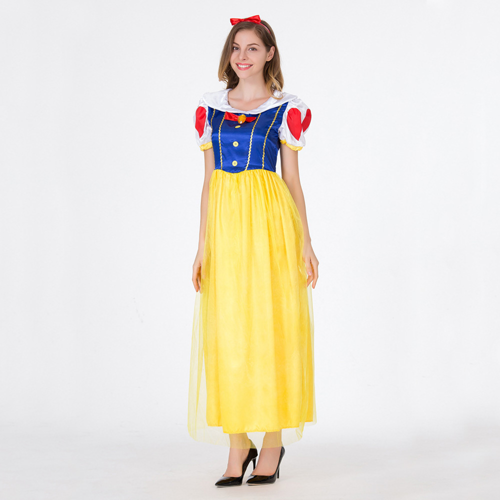 Halloween Cosplay Fancy Dress Princess Snow White Carnival Costume for Adult